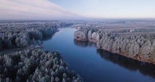 El volar sobre el lago congelado rodeado por los árboles cubiertos en helada en el invierno almacen de video