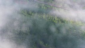 El volar sobre landcape con la niebla metrajes