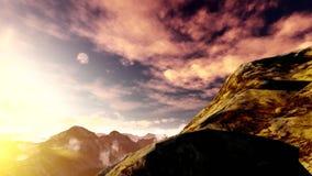 El volar sobre las montañas en la niebla almacen de video