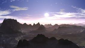 El volar sobre las montañas a la puesta del sol libre illustration