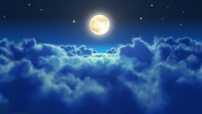 El volar sobre las nubes en la noche con la luna ilustración del vector