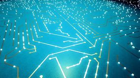 El volar sobre el microprocesador con los electrones de un vuelo Color azul