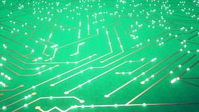 El volar sobre el microprocesador con los electrones de un vuelo Color verde