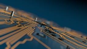 El volar sobre una placa de circuito futurista con la CPU metrajes