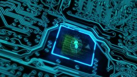 El volar sobre una placa de circuito futurista con los electrones móviles que terminan en la CPU stock de ilustración