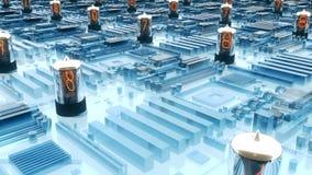 El volar sobre una placa de circuito futurista con los tubos del nixie