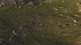 El volar sobre una situación grande de la formación de roca en el pie del borde épico de una meseta rocosa Rusia El Cáucaso del n almacen de metraje de vídeo