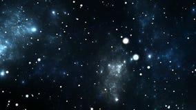 El volar a través de campos de la nebulosa y de estrella en espacio profundo stock de ilustración