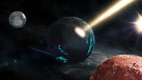 El volar a través de campos de estrella en espacio cerca del planeta destruido libre illustration