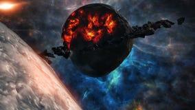 El volar a través de campos de estrella en espacio cerca de un planeta destruido ilustración del vector