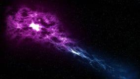 El volar a través de las estrellas y de las nebulosas - 4K - púrpuras y azules la cámara vuela a través de un campo de estrella c stock de ilustración