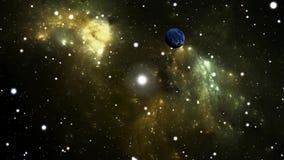 El volar a través de un starfield en espacio exterior