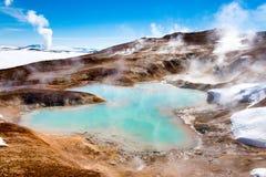 El volcán activo de Leirhnjukur, Islandia Foto de archivo