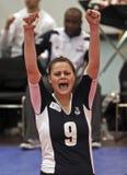 El voleibol celebra la punta Foto de archivo