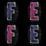 El volumen letra E, F con los rhinestones brillantes Foto de archivo