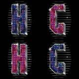 El volumen letra G, H con los rhinestones brillantes Fotos de archivo libres de regalías