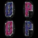 El volumen letra O, P con los rhinestones brillantes Imágenes de archivo libres de regalías
