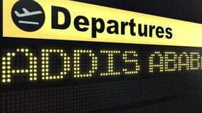 El vuelo a Addis Ababa en salidas del aeropuerto internacional sube El viajar a la representación conceptual 3D de Etiopía Imágenes de archivo libres de regalías