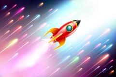 El vuelo de la nave del cohete en el espacio Ilustración del vector Foto de archivo