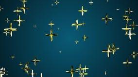 El vuelo de oro al azar de muchos más que flotaba en dinámica universal del movimiento de la nueva calidad del fondo de la animac libre illustration