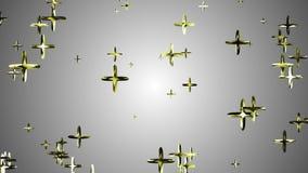 El vuelo de oro al azar de muchos más que flotaba en dinámica universal del movimiento de la nueva calidad del fondo de la animac stock de ilustración