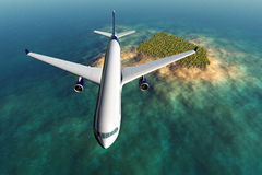 El vuelo del aeroplano sobre una isla tropical 3d rinde Imagen de archivo libre de regalías