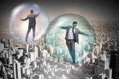 El vuelo del hombre de negocios dentro de la burbuja Fotografía de archivo libre de regalías