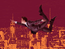 El vuelo del hombre de negocios sobre la ciudad ilustración del vector
