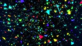El vuelo geométrico del triángulo del confeti de la animación abstracta inconsútil le gusta la lluvia Triángulo colorido en la mu libre illustration