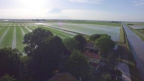 El vuelo sobre el agua del arroz italiano coloca metrajes