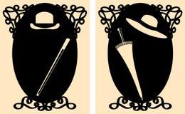 El wc del retrete de las damas y caballeros del vector o el lavabo firma adentro figuras retras del estilo con los accesorios Fotos de archivo libres de regalías