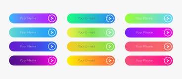 El web abotona la plantilla plana del diseño con pendiente del color ilustración del vector