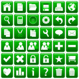 El Web cuadrado verde abotona [1] Fotografía de archivo