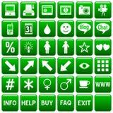 El Web cuadrado verde abotona [4] Fotos de archivo libres de regalías