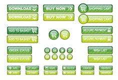 El Web de las compras abotona verde Imagen de archivo libre de regalías