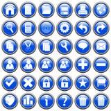 El Web redondo azul abotona [1] Imagenes de archivo