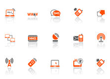 El Web y conecta iconos Imagen de archivo libre de regalías