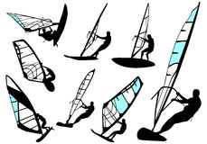 El Windsurfing - conjunto del vector Fotografía de archivo libre de regalías