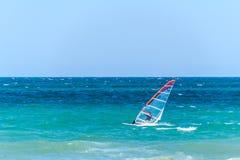 El Windsurfing en el mar Foto de archivo libre de regalías