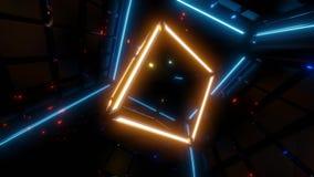 El wireframe amarillo cubica el vjloop de la animación con las luces azules en fondo, ilustración del vector