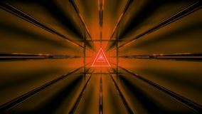 El wireframe anaranjado con el papel pintado 3d del fondo del túnel rinde el vjloop libre illustration