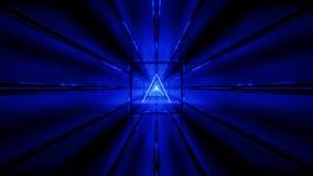 El wireframe azul con el papel pintado 3d del fondo del túnel rinde el vjloop libre illustration