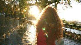 El womanwalking caucásico joven en un parque colorido del otoño por el callejón mojado, gozando de follaje del otoño, da vuelta a metrajes
