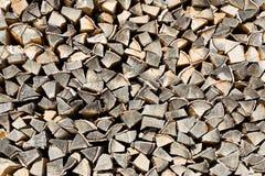El woodpile de la leña del brich Fotografía de archivo