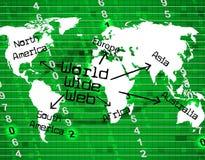 El World Wide Web indica la red y el planeta de Internet Imagen de archivo libre de regalías