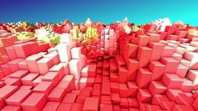 El yelow rojo de la tecnología del extracto y 3D blanco cubica el fondo geométrico rinden 4k UHD 3840x2160 libre illustration
