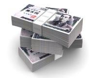 El yen carga en cuenta paquetes (con el camino de recortes) Foto de archivo