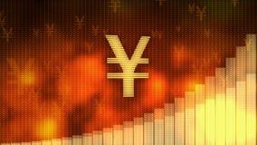 El yen que sube en el fondo rojo, moneda gana el valor, crisis financiera evitada ilustración del vector