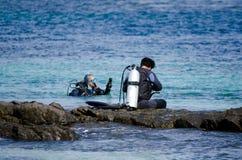 El zambullirse en la península Nueva Zelanda de Karikari Fotos de archivo libres de regalías