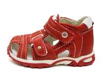 El zapato de los niños rojos Fotografía de archivo libre de regalías